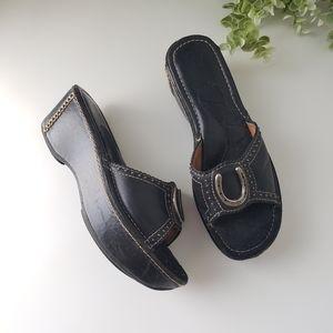 Ariat horseshoe leather platform wedge